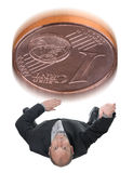 Decision. Businessman flipping a coin for head or tail deciding a decision Royalty Free Stock Photos