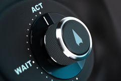Decision Aids, Concept Image. Proactivity. Decision button with the words wait and act, button arrow pointing to the word action. 3D render, concept image for Stock Photography