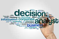 Decision analyst word cloud concept on grey background.  stock images