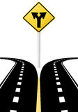 Decision choice future direction arrows road sign. Right left arrows on highway road sign symbol of split paths decision Royalty Free Stock Image