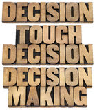 Decision cocnept in wood type Royalty Free Stock Photos