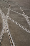 Decision, crossing tram tracks. Abstract lines of tram tracks with crossing points Stock Photo