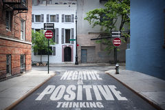 Decision at a crossroad - Positive or Negative Royalty Free Stock Images