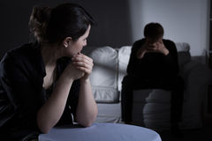 Decision about divorce. Young worried marriage making a decision about divorce Stock Photo