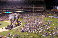Decision at Harvest Crusade. People coming down on the field during the Harvest Crusade at Angels Stadium Stock Images