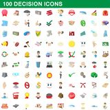 100 decision icons set, cartoon style. 100 decision icons set in cartoon style for any design illustration vector illustration