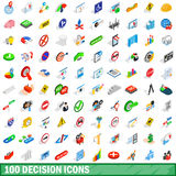 100 decision icons set, isometric 3d style Stock Photos
