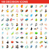 100 decision icons set, isometric 3d style Stock Photo