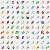 100 decision icons set, isometric 3d style Royalty Free Stock Photography