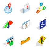 Decision icons set, isometric style. Decision icons set. Isometric set of 9 decision vector icons for web isolated on white background Stock Photography