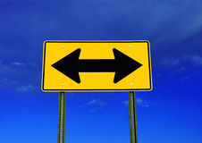 Decision making. A road ends sign, on a blue sky Stock Photos