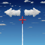 Decision Making. Business concept as an acrobatic jet airplane flying up towards clouds shaped as arrows pointing in opposite directions as a metaphor for Royalty Free Stock Photography