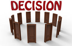 Decision making concept. 3D illustration for the decision making concept. Twelve doors arranged in a circular pattern and red decision text placed above Stock Image