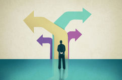 Decision-making concept illustration. Drawing of Man Facing Colored Arrows Pointing in Different Directions stock photos