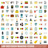100 decision making icons set, flat style. 100 decision making icons set in flat style for any design vector illustration Royalty Free Stock Photography