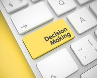 Decision Making - Inscription on Yellow Keyboard Keypad. 3D. Close View Yellow Keyboard Key - Decision Making. Online Service Concept with Modern Laptop Enter Royalty Free Stock Image