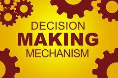 Decision making mechanism concept. Decision making mechanism sign concept illustration with red gear wheel figures on yellow background Stock Images