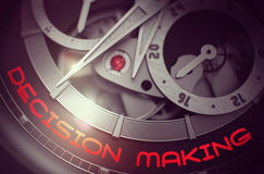 Decision Making on the Old Watch Mechanism. 3D. Vintage Wristwatch with Decision Making Inscription on Face. Decision Making on Vintage Wrist Watch Detail Stock Photo