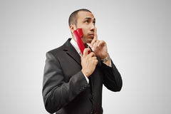 Decision making. Over the phone Royalty Free Stock Photo