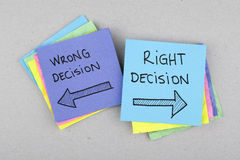 Decision making. Right decision or wrong decision choosing Stock Images