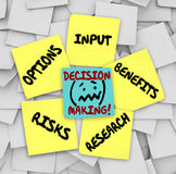 Decision Making Sticky Notes Input Options Risks Benefits Resear. Decision Making words on sticky notes surrounded by things to consider such as options, input Stock Photography