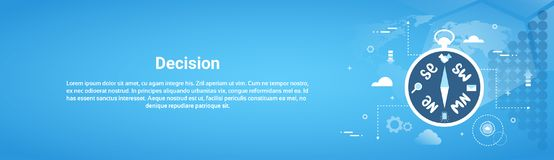 Decision Making Web Horizontal Banner With Copy Space. Flat Vector Illustration royalty free illustration