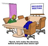 Decision Meeting. Business cartoon showing two people in a meeting room and a chart that reads, 'Decision Meeting'.  Businesswoman says, 'Quick, let's make the Stock Photos