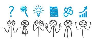 Decision problem, solving process, generator ideas, succeed. Vector royalty free illustration