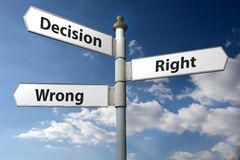 Decision Right or Wrong sign post Royalty Free Stock Images
