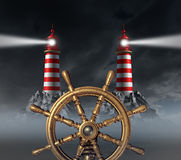 Decision Stress. Crossroad and choosing the right path away from danger and hazardous choices in business with a ship wheel and two opposite shinning light Stock Photos