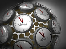 Decision Time. A globe of clocks symbolizing that it's high time for decision making Stock Photos