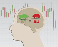 The decision to buy or sell. Stock Images
