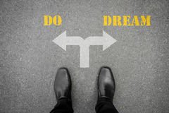 Decision to make at the cross road - do or dream Royalty Free Stock Photo
