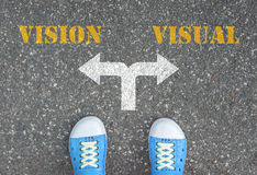 Decision to make at the cross road - vision or visual. Blue shoes has decision to make at the cross road - vision or visual Royalty Free Stock Photo