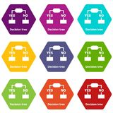 Decision tree icons set 9 vector. Decision tree icons 9 set coloful isolated on white for web Stock Photos