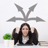 Decision. Woman with stress on decision making Stock Images