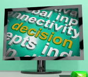 Decision Word Cloud Screen Shows Choice Or Decide Royalty Free Stock Photo