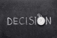 Decision word watch. Decision word handwritten on chalkboard with vintage precise stopwatch used instead of O royalty free stock photos