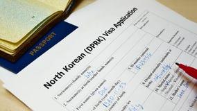 Decisione da rifiutare di assegnare il modulo di domanda nordcoreano di visto del DPRK video d archivio