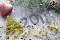 Decisiones del ` s del Año Nuevo sobre una forma de vida sana Días de fiesta sanos de la consumición y de la dieta ¡Puesto en bue Fotografía de archivo libre de regalías