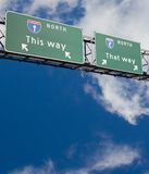 Decisions. Freeway sign giving two choices royalty free stock image