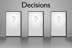 Decisions - Door & choices Royalty Free Stock Photography