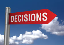 Decisions road sign 3d illustration Royalty Free Stock Image