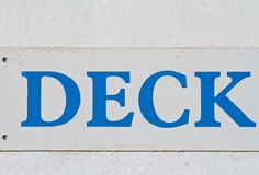 Deck. Old deck sign in blue and white Royalty Free Stock Photography
