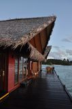 Deck. A wooden deck in restaurant in the sea in Maldives Stock Photography