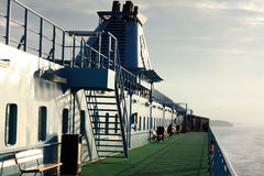 On the deck. Of the ferry in Baltic sea Royalty Free Stock Photography