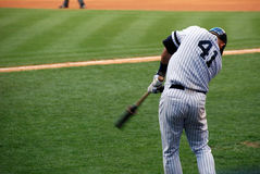 On Deck. A Baseball player on deck, preparing to hit Royalty Free Stock Photography