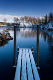 Deck. Wooden deck on the shore of a small lake in winter (Sweden Stock Image