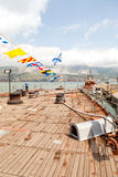 Deck of artillery cruiser Mikhail Kutuzov in the port of Novorossiysk Royalty Free Stock Images