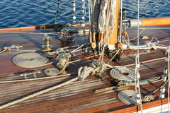 Deck of a boat. Deck of a wooden boat at sunset Royalty Free Stock Photos